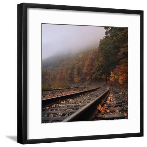 Train Tracks, Fall and Fog-Owen Luther-Framed Art Print