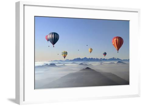 Hot Air Balloons over Mountain Skyline-Axel Lauerer-Framed Art Print