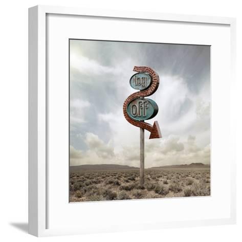 Log off Neon in the Desert-Miguel Navarro-Framed Art Print
