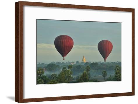 Hot Air Balloons over Bagan in Myanmar-Huang Xin-Framed Art Print