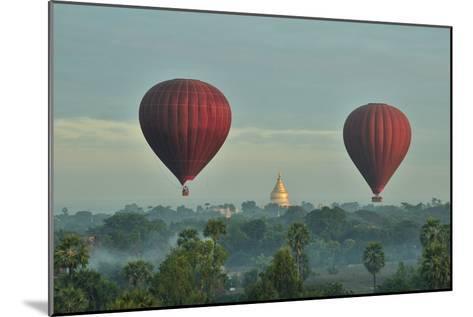 Hot Air Balloons over Bagan in Myanmar-Huang Xin-Mounted Photographic Print