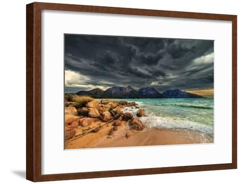 Storm Clouds over Mountains and Beach-Steve Daggar Photography-Framed Art Print