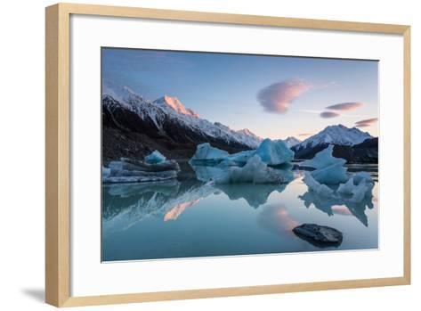 Sunrise at Tasman Glacier River-Yi Jiang Photography-Framed Art Print