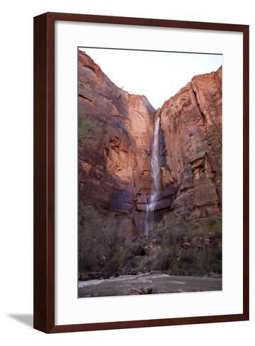 Waterfall in Zion.-Jordan Siemens-Framed Art Print