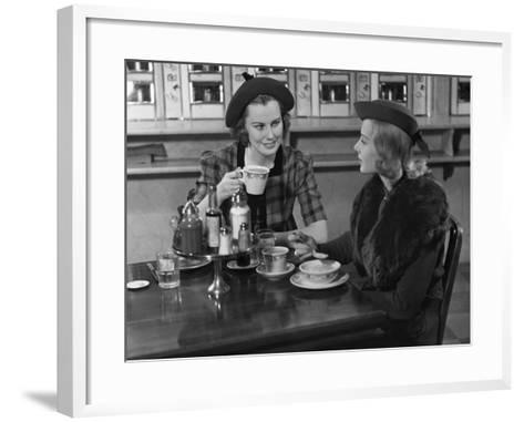 Two Women at Restaurant-George Marks-Framed Art Print
