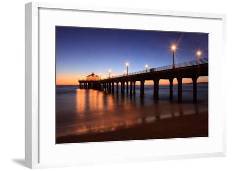Manhattan Beach Pier-Jumper-Framed Art Print