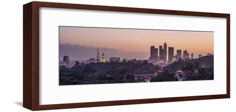 Panoramic View of Downtown Los Angeles at Sunset-Taesam Do-Framed Art Print
