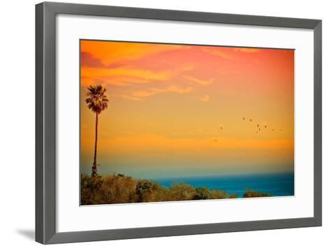 Light of Sun Setting on Malibu Beach-Albert Valles-Framed Art Print
