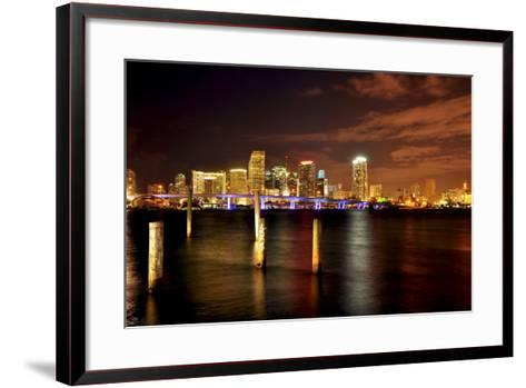 Miami Skyline at Night-Shobeir Ansari-Framed Art Print