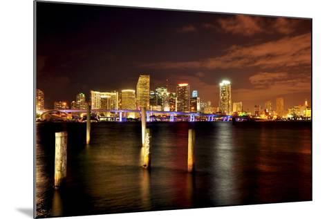Miami Skyline at Night-Shobeir Ansari-Mounted Photographic Print