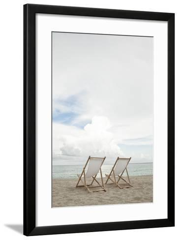 Two Empty Chairs on the Beach.-MoMo Productions-Framed Art Print