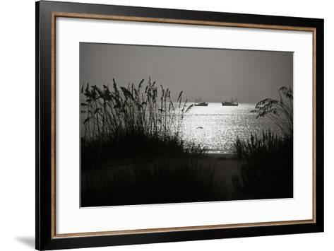 Silhouettes of Sea Oats and Shrimp Boats-Joseph Shields-Framed Art Print