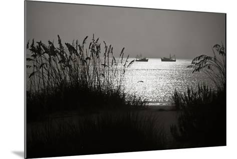 Silhouettes of Sea Oats and Shrimp Boats-Joseph Shields-Mounted Photographic Print