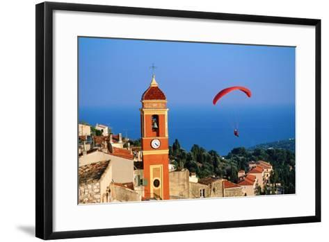 Paraglider Soaring past Tower of Colourful Village Church, Alpes-Maritimes, Roquebrune, Provence-Al-David Tomlinson-Framed Art Print
