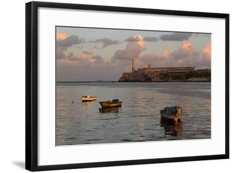 Fishing Boats and El Morro Lighthouse at Sunrise-Adam Jones-Framed Art Print