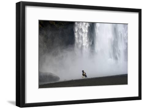 Icelandic Pony at Skogarfoss Waterfall-David Yarrow Photography-Framed Art Print