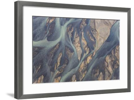 Aerial View of River Estuary Water, Iceland-Peter Adams-Framed Art Print