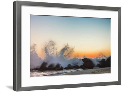 Waves Crashing on Rocky Beach at Sunset-Markus Henttonen-Framed Art Print