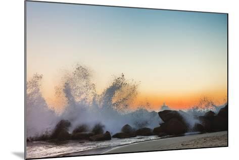 Waves Crashing on Rocky Beach at Sunset-Markus Henttonen-Mounted Photographic Print