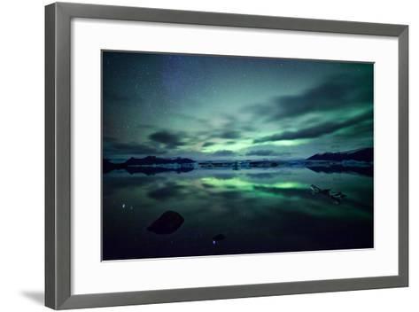 Northern Lights over Jokulsarlon-Matteo Colombo-Framed Art Print