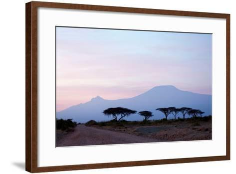 Sunrise View of Mount Kilimanjaro behind a Line of Acacia Trees. Amboseli National Park, Kenya-Cultura Travel/Philip Lee Harvey-Framed Art Print
