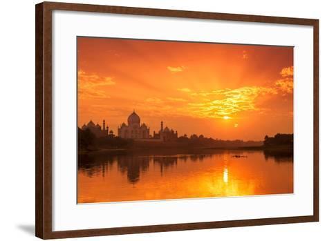 Taj Mahal and Yamuna River at Sunset-Adrian Pope-Framed Art Print
