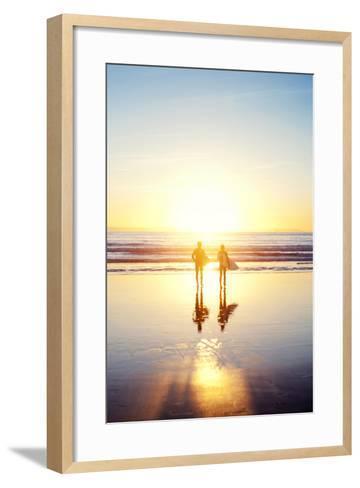 Sunsoaked Surf Silhouette--Framed Art Print