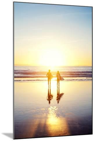 Sunsoaked Surf Silhouette--Mounted Photographic Print