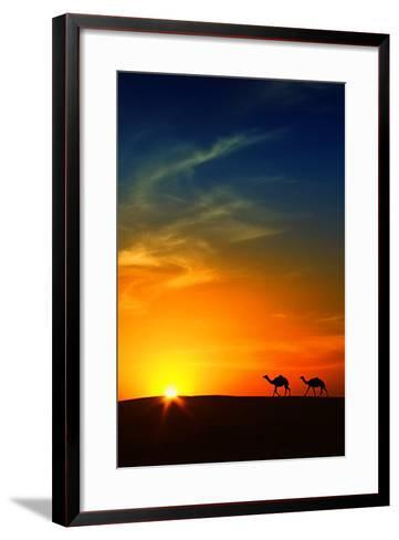 Silhouette of Camels at Sunset,Saudi Arabia-I hope you like my photos-Framed Art Print