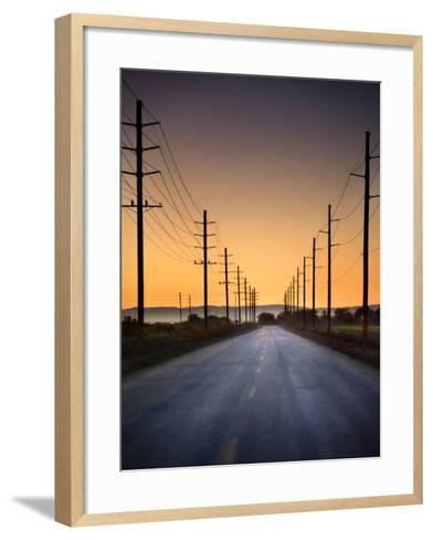 Road and Power Lines at Sunset-www.jodymillerphoto.com-Framed Art Print