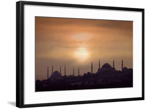 Turkey, Istanbul, Blue Mosque and Hagia Sophia, Sunset-Daryl Benson-Framed Art Print