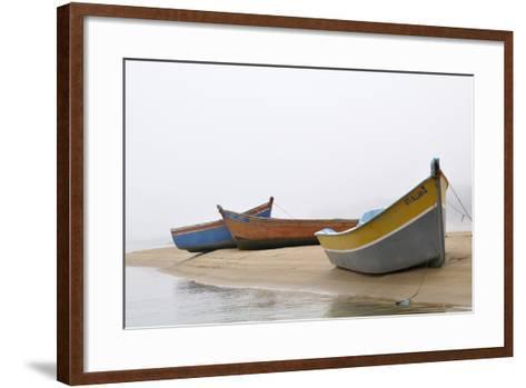 Boats on Beach, Moulay Bousselham, Kenitra Province, Morocco-Jean-Christophe Riou-Framed Art Print