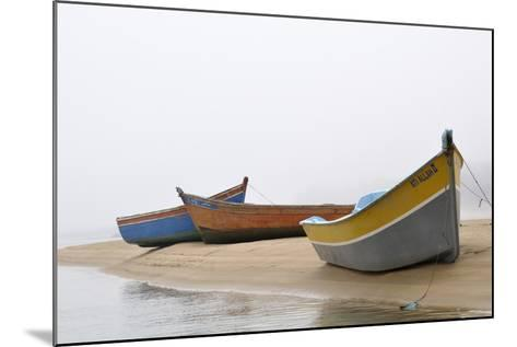 Boats on Beach, Moulay Bousselham, Kenitra Province, Morocco-Jean-Christophe Riou-Mounted Photographic Print