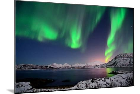 Northern Lights and Moonlit Landscape-John Hemmingsen-Mounted Photographic Print
