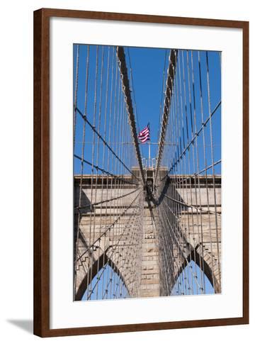 Upward Image of Brooklyn Bridge in New York-burak pekakcan-Framed Art Print