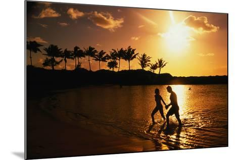 Couple on Beach at Sunset.-Linda Ching-Mounted Photographic Print