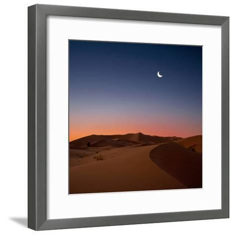 Crescent Moon over Dunes-Photo by John Quintero-Framed Art Print