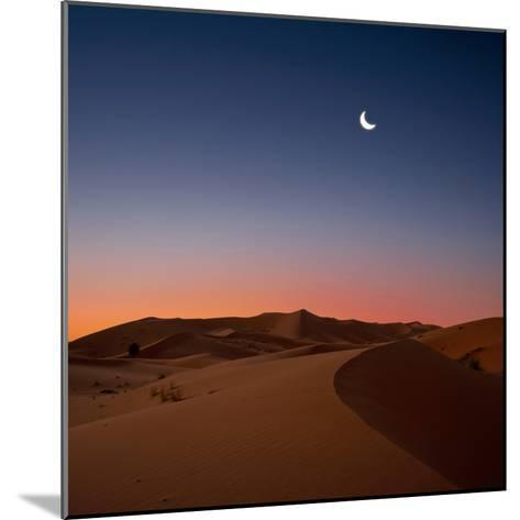 Crescent Moon over Dunes-Photo by John Quintero-Mounted Photographic Print