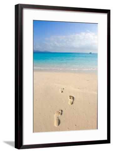 Fooprint Outlines in the Sand towards the Ocean-Alberto Guglielmi-Framed Art Print