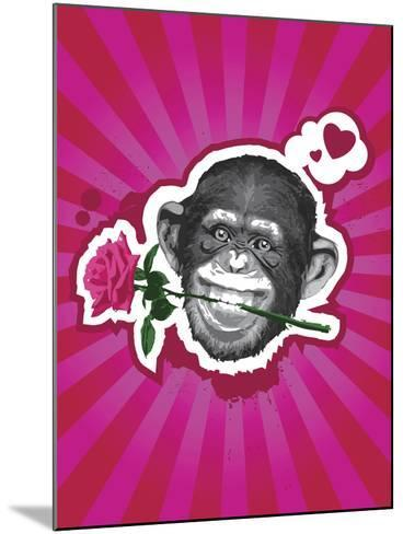 Chimpanzee with Rose in Mouth-New Vision Technologies Inc-Mounted Photographic Print
