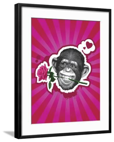 Chimpanzee with Rose in Mouth-New Vision Technologies Inc-Framed Art Print