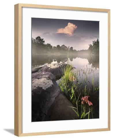 Foggy Sunset beside a Lake-Tyler Gray-Framed Art Print