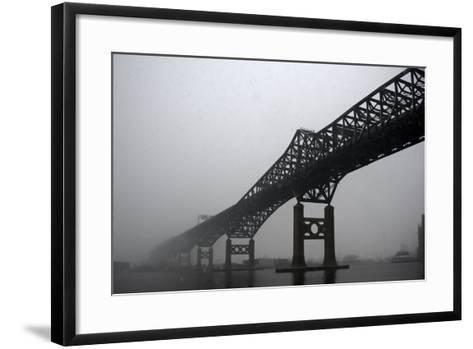 The Pulaski Skyway in the Snow and Fog-Photography by Steve Kelley aka mudpig-Framed Art Print