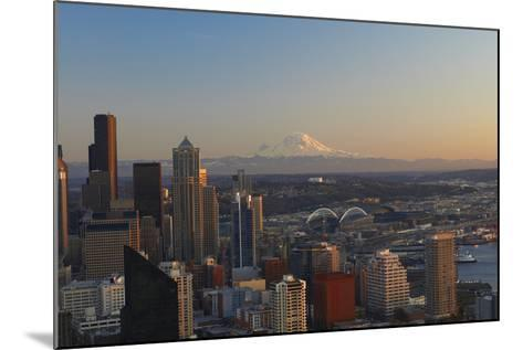 Aerial View of Seattle City Skyline-Peter Muller-Mounted Photographic Print