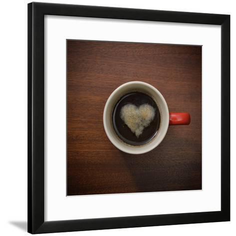 Coffee Cup with Crema Resembling a Heart Shape-David Malan-Framed Art Print