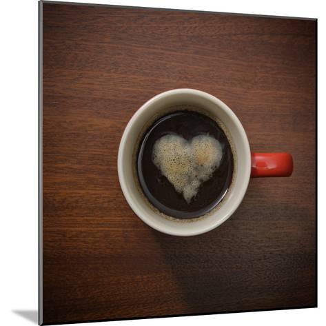 Coffee Cup with Crema Resembling a Heart Shape-David Malan-Mounted Photographic Print