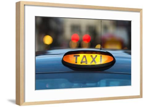 Uk, England, London, Sign on Taxi Cab-Tetra Images-Framed Art Print