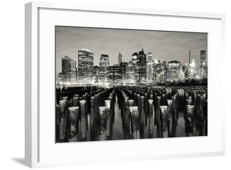 Manhattan at Night-Shobeir Ansari-Framed Art Print