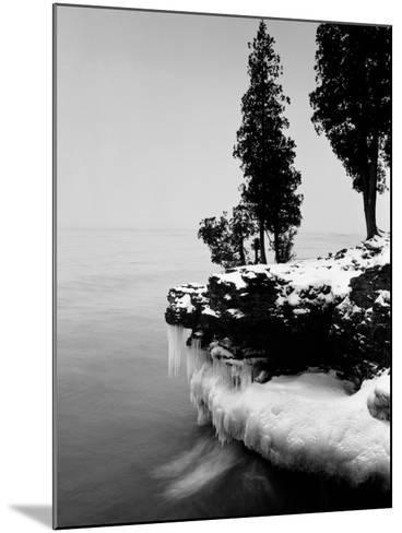 Usa, Wisconsin, Lake Michigan, Shore Scenic, Winter (B&W)-Alex L. Fradkin-Mounted Photographic Print