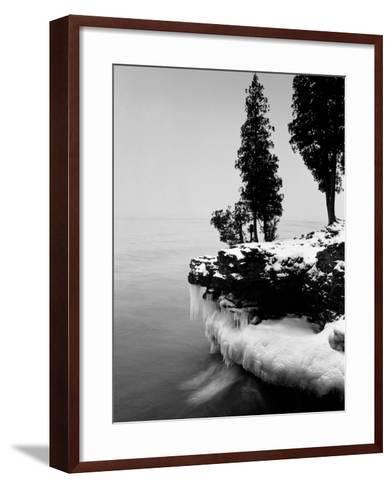 Usa, Wisconsin, Lake Michigan, Shore Scenic, Winter (B&W)-Alex L. Fradkin-Framed Art Print